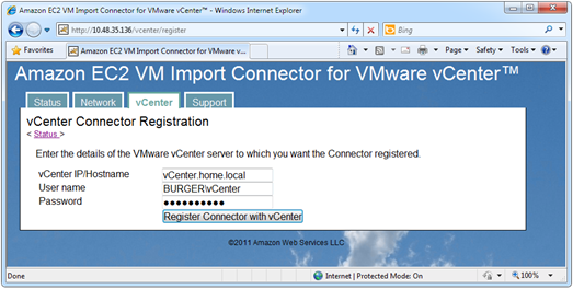 Connector registration with vCenter