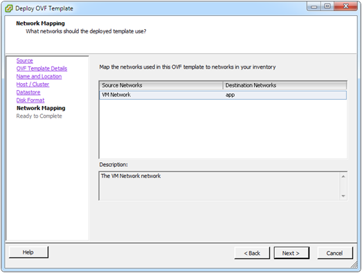 Deploy OVF template: select network mapping