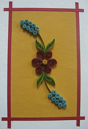 Quilling Design Red Flower