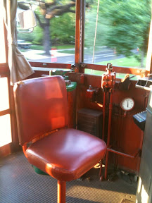 Conductor's seat inside the Saint Charles Streetcar in New Orleans