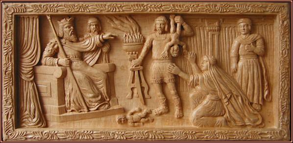 El juicio de Salomón. Talla en madera