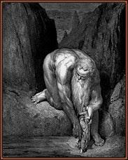 Gustave Doré. Anteo se dispone a bajar a Dante y a Virgilio al último círculo del infierno. Grabado