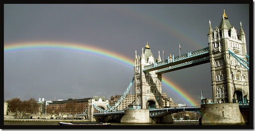 London's Tower Bridge rainbow