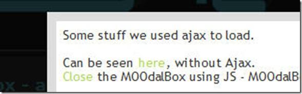 MOOdalBox A modal box (inline popup)