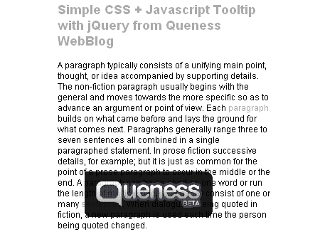 Simple CSS + Javascript Tooltip with jQuery from Queness WebBlog
