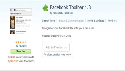 Facebook Toolbar,firefox Facebook Toolbar Add-ons