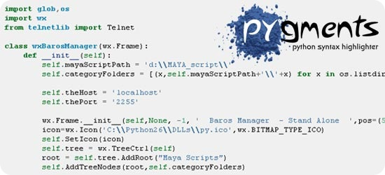 Pygments python syntax highlighter