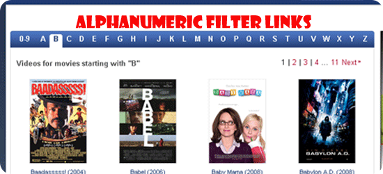 Alphanumeric-Filter-Links