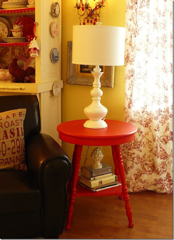white lamp on red table