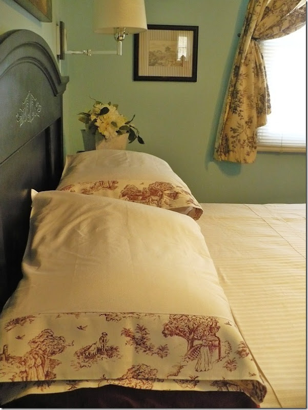 blue and black toile bedroom