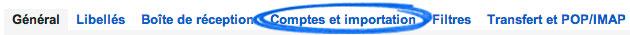 Onglet Comptes et importation