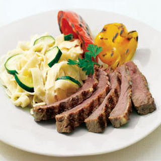 Italian Steak & Vegetables With Alfredo Pasta.