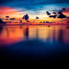 Ocean Sunset. by Michael Tan - Landscapes Sunsets & Sunrises ( clouds, ship, sunset, ocean, oilrigs )