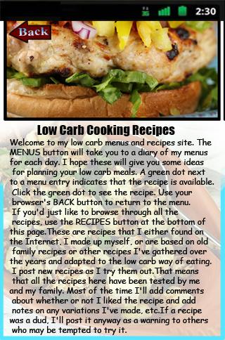 Low Carb Cooking Recipes