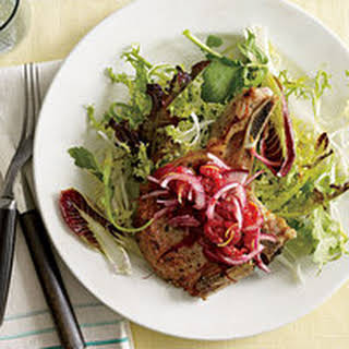 Pork Chops with No-Cook Raspberry Relish.