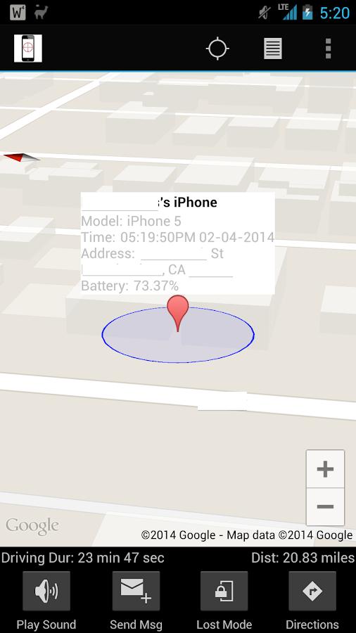Find My iPhone free via icloud - screenshot
