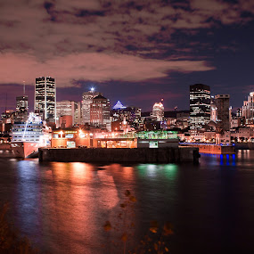 The Old Port by Vikram Mehta - City,  Street & Park  Night ( clouds, water, port, montreal, colors, night, boat, Urban, City, Lifestyle,  )