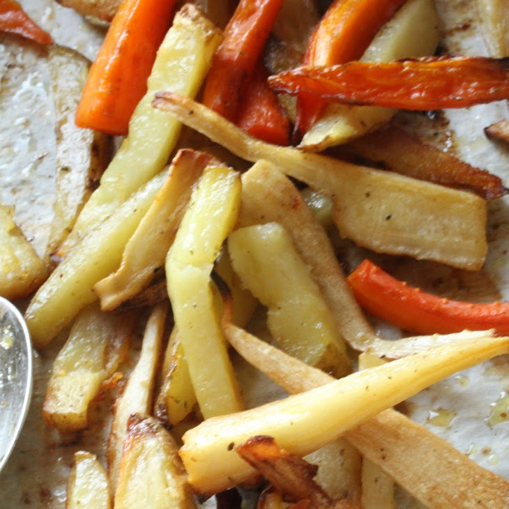 Root Vegetable Chips, Vegetable Soup, and Baked Vegetables