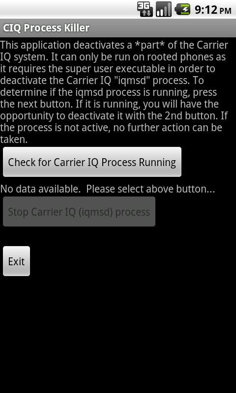 Carrier IQ Process Killer - screenshot