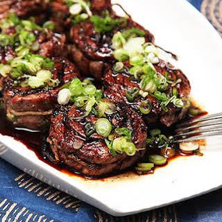 Grilled Stuffed Flank Steak With Scallions, Ginger, and Teriyaki Glaze.