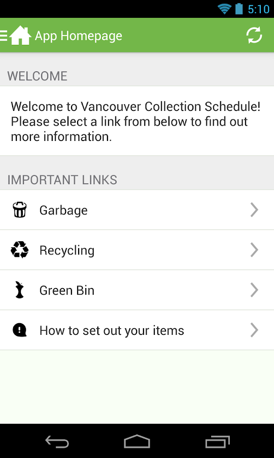 Vancouver Collection Schedule - screenshot