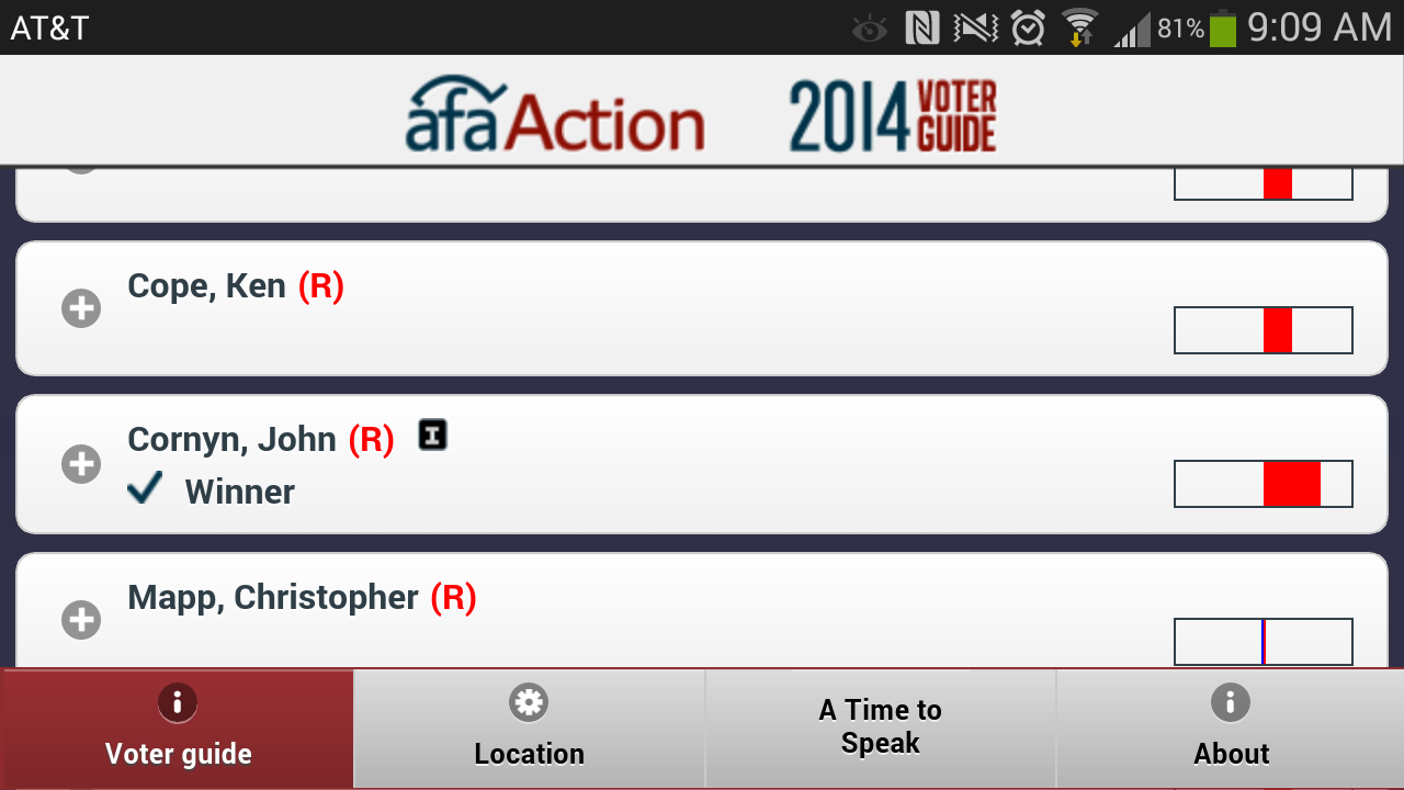 AFA Action Voter Guide - screenshot