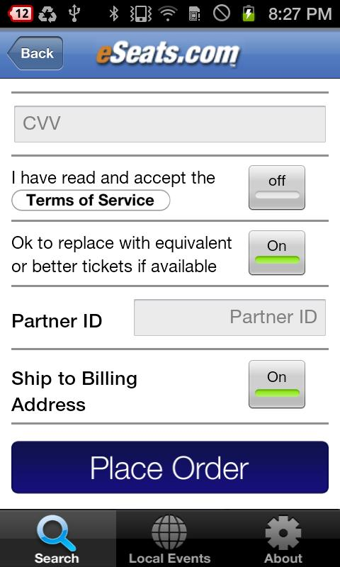 eSeats Tickets App - screenshot