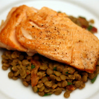 Salmon with Smoked Bacon and Lentil Salad