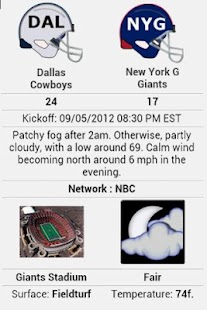 NFLWeather & Scores - screenshot thumbnail