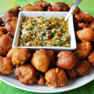 Oyster Hush Puppies with Pepper Mojo