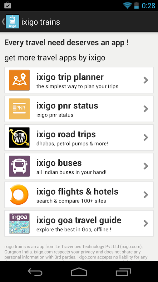 ixigo indian rail train irctc - screenshot