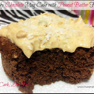 Healthy Chocolate Mug Cake with Peanut Butter Frosting.