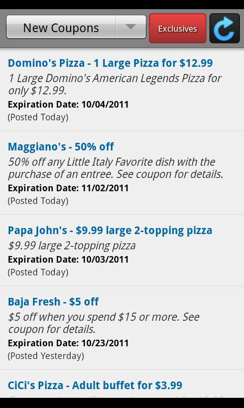 Fast Food Deals and Coupons - screenshot