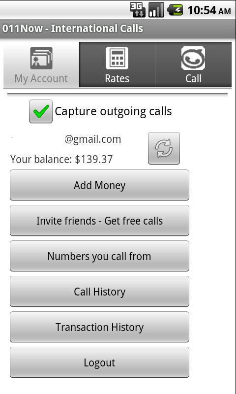 011Now - International calls - screenshot