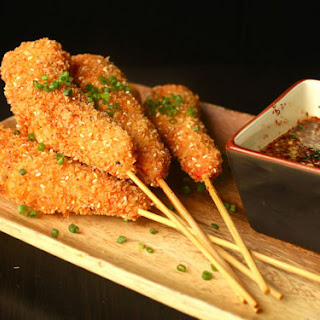Fried Crispy Shrimp Skewers