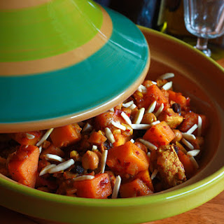 Moroccan Chicken, Apricot and Almond Tagine