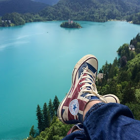 Lake Bled by Tina K - Instagram & Mobile iPhone ( slovenia, converse, bled, allstars, lake bled )