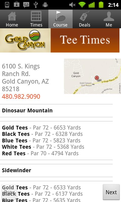 Gold Canyon Tee Times - screenshot