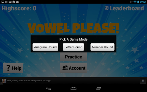 Vowel Please! - Countdown game - screenshot thumbnail