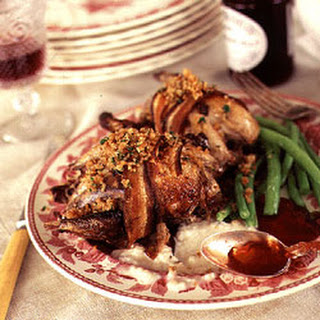 Roast Grouse with Bread Sauce and Game Crumbs.