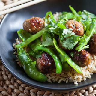 Glazed Mini Pork Meatballs & Snow Peas over Brown Rice.