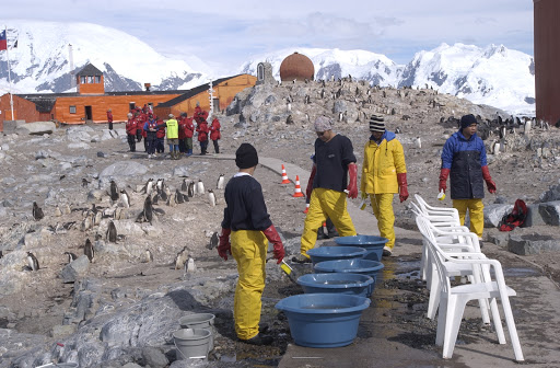 186d2Footwash - Departing passengers line up to get the bottom of their boots scrubbed with disinfectant to wash off the penguin poop, which you definitely don't want to be tracking into your cabin!