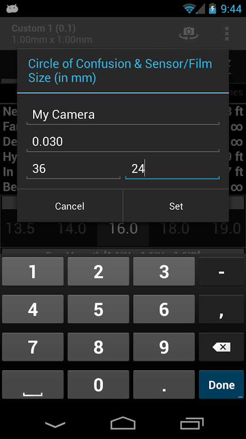 DOF and Hyperfocal Calculator- screenshot