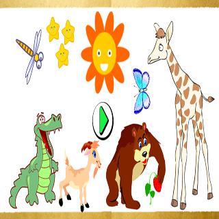 25动物的益智游戏的孩子