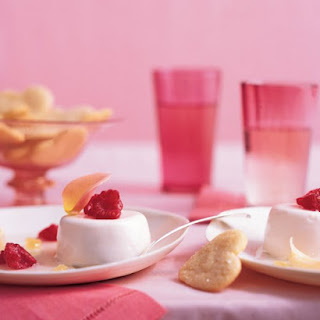Rose Water Panna Cotta with Raspberries and Lychees