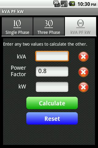 kVA Calculator- screenshot