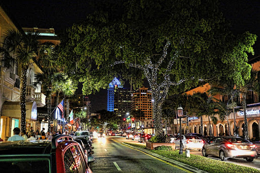 A festive stretch of Las Olas Boulevard in Fort Lauderdale, Florida.