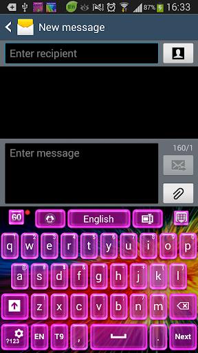 レーザーピンクのキーボード
