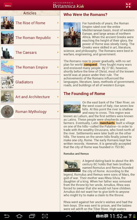 Britannica Kids: Ancient Rome - screenshot