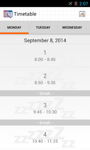 Timetable Android App Screenshot